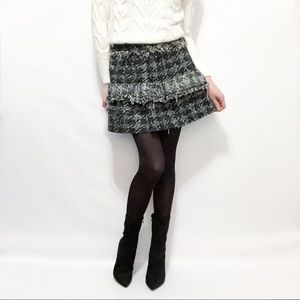 Zara NWT Tiered Fringe Houndstooth Tweed Skirt